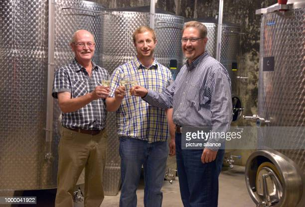 Helmut Gindorf Matt Braun and John Pfeiffer make a toast in the Gindorf winery in Lieser Germany 05 June 2017 The American personal manager Pfeiffer...