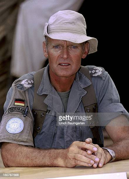 Helmut HARFF commander of the German KforContingent in Tetovo Mazedonia Our picture shows HARFF as the commander of the support formation Somalia of...