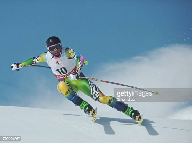 Helmut Hoflehner of Austria skiing in the Men's Downhill competition on 9 February 1992 during the XVI Olympic Winter Games at Val-d'Isere,...