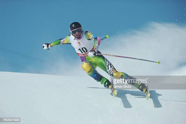 Helmut Hoflehner of Austria skiing in the Men's Downhill competition on 9 February 1992 during the XVI Olympic Winter Games at Val d'Isere,...