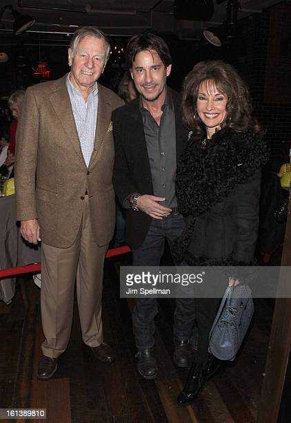 Helmut Huber actors Susan Lucci and Ricky Paull Goldin and Rebecca Budig attend the Spontaneous Construction premiere at Guys American Kitchen Bar on...