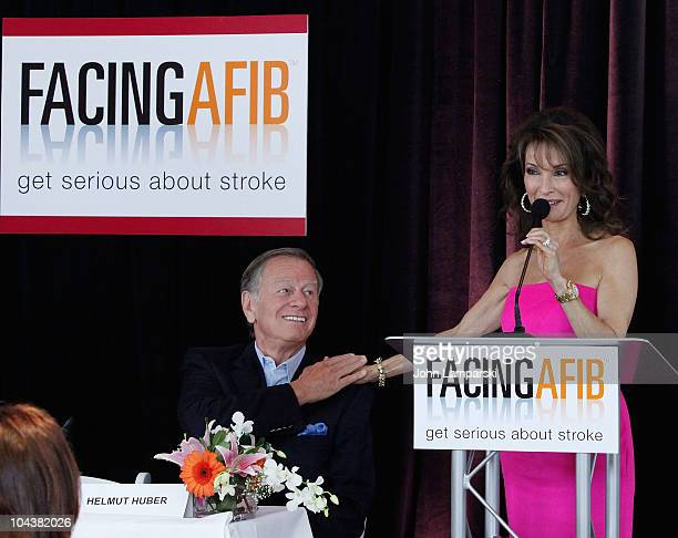 Helmut Huber and Susan Lucci attend the Facing AFib press conference at Pulse Restaurant on September 23 2010 in New York City