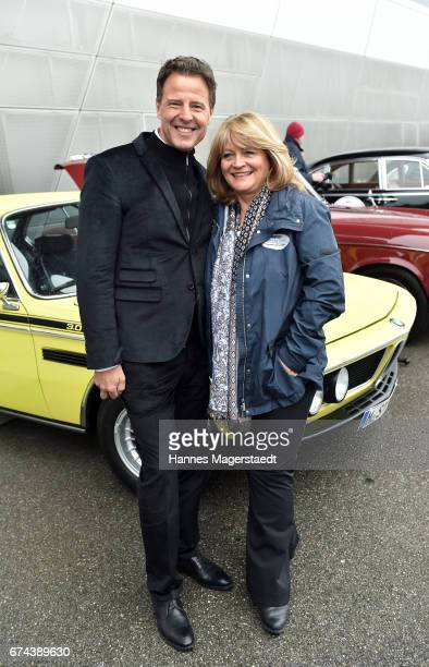 Helmut Kaes and Alexandra Schoerghuber Paulaner before the ArabellaClassics Route 2017 starts at BMW World on April 28 2017 in Munich Germany