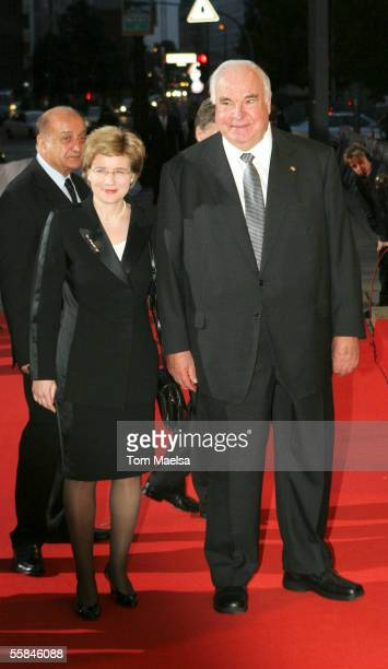 Helmut Kohl former German chancelor and Maike Richter attend the Quadriga Awards 2005 at Komische Oper on October 03 2005 in Berlin Germany