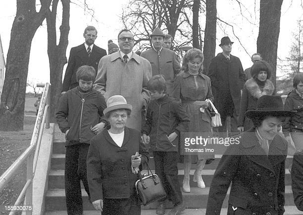Helmut Kohl member of the CDU on his way to a polling place together with his wife Hannelore Kohl and his children March 10 Oggersheim Germany