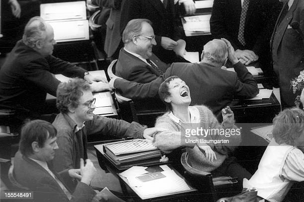 Helmut Kohl, Petra Kelly, Otto Schily and Marieluise Beck-Oberdorf in the plenary chamber of the Federal German Parliament on March 29, 1983 in Bonn,...