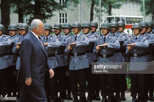 Helmut Kohl Review of the Bundeswehr troops at 'Kommando Est' in Potsdam Germany On July 21 1993