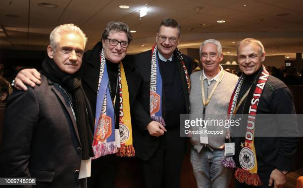 Helmut Kremers Toni Schumacher Reinhard Grindel DFB president Erwin Kreemrs and Olaf Thon pose during the Club Of Former National Players Meeting at...