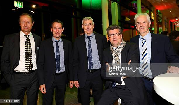 Helmut Krug Florian Mayer Lutz Michael Froehlich Herbert Fandel and Eugen Striegel pose for a picture after the ceremonial act of the DFB Bundestag...