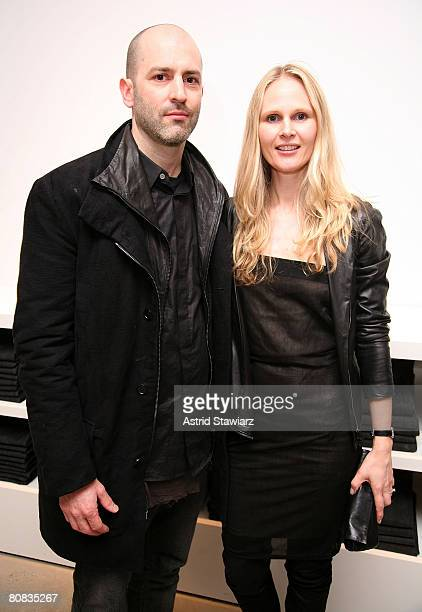 Helmut Lang designers Nicole Covolos and Michael Covolos celebrates Sloane Crosley's I Was Told There'd Be Cake at Helmet Lang on April 22, 2008 in...