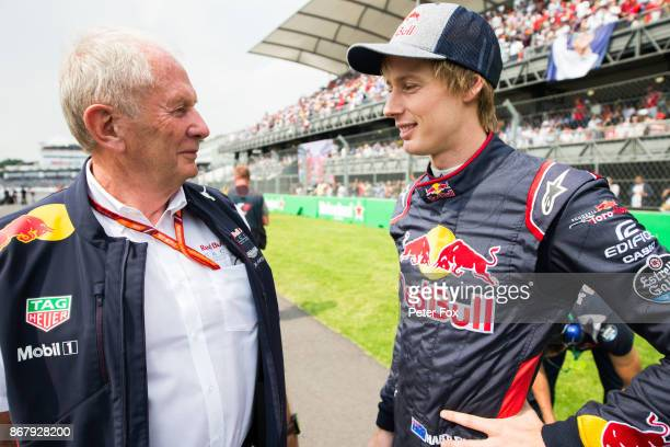 Helmut Marko of Austria and Red Bull chats with Brendon Hartley of Scuderia Toro Rosso and New Zealand during the Formula One Grand Prix of Mexico at...