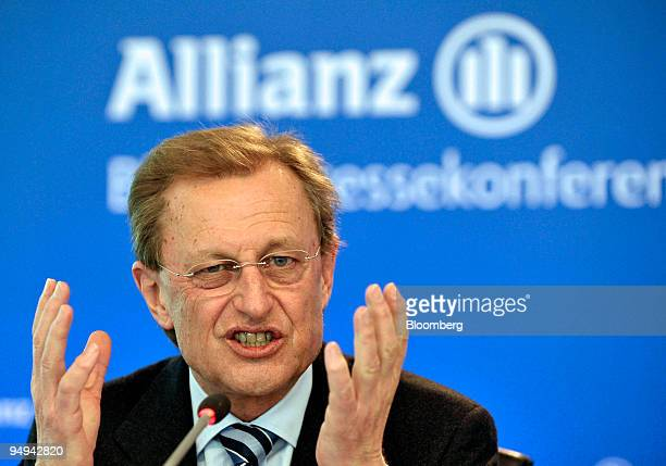 Helmut Perlet chief financial officer of the Allianz SE Group speaks at the presentation of the company's 2008 results in Munich Germany on Thursday...