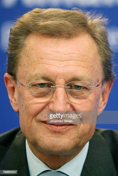 Helmut Perlet member of the board of the Allianz insurance group looks on during the announcement of the 2007 results on February 21 2008 in Munich...