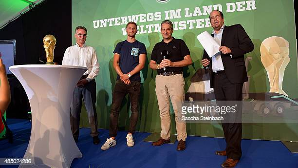 Helmut Sandrock Benedikt Hoewedes Manuel Neukirchner and Stephan Brause attend the closing event of the 'DFB Ehrenrunde' on August 23 2015 in Kamen...