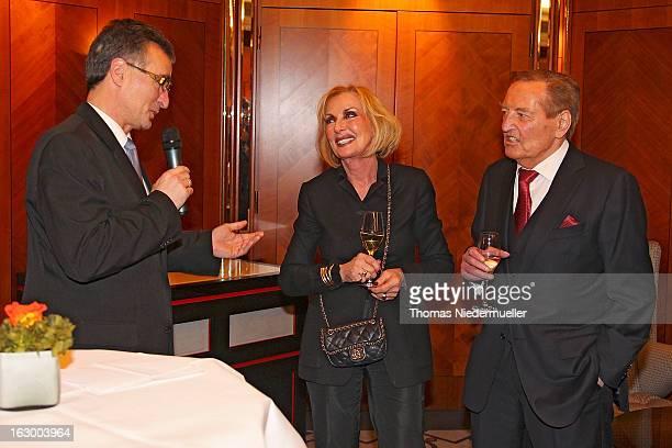 Helmut Sandrock Margit MayerVorfelder and Gerhard MayerVorfelder are seen during the celebration of the 80th birthday of Gerhard MayerVorfelder at...