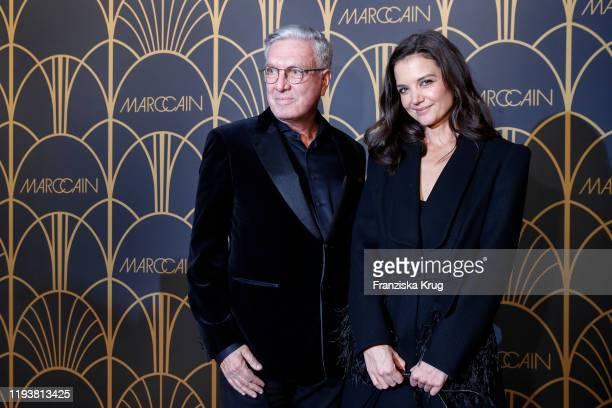 Helmut Schlotterer and Katie Holmes arrive at the Marc Cain show during Berlin Fashion Week Autumn/Winter 2020 at Deutsche Telekom's representative...