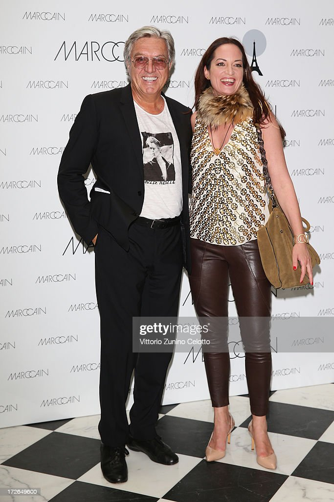 Helmut Schlotterer and Natalia Woerner (R) attend the Marc Cain Photocall during the Mercedes-Benz Fashion Week Spring/Summer 2014 at the Hotel Adlon on July 4, 2013 in Berlin, Germany.