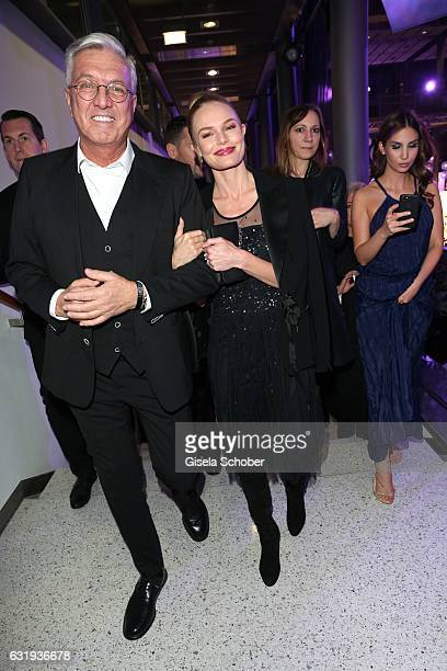 Helmut Schlotterer Founder and CEO of Marc Cain and Kate Bosworth wearing a dress by Marc Cain during the Marc Cain fashion show fall/winter 2017...