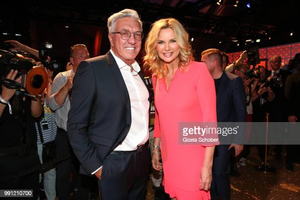 Helmut Schlotterer Founder and CEO of Marc Cain and Veronica Ferres during the Marc Cain Fashion Show Spring/Summer 2019 at WEEC Westhafen on July 3...