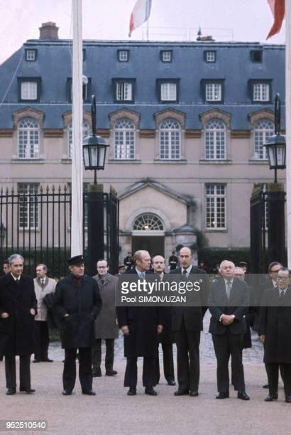 Helmut Schmidt, Gerald Ford, Valery Giscard d'Estaing et Henry Kissinger lors du sommet de Rambouillet en novembre 1975, France.