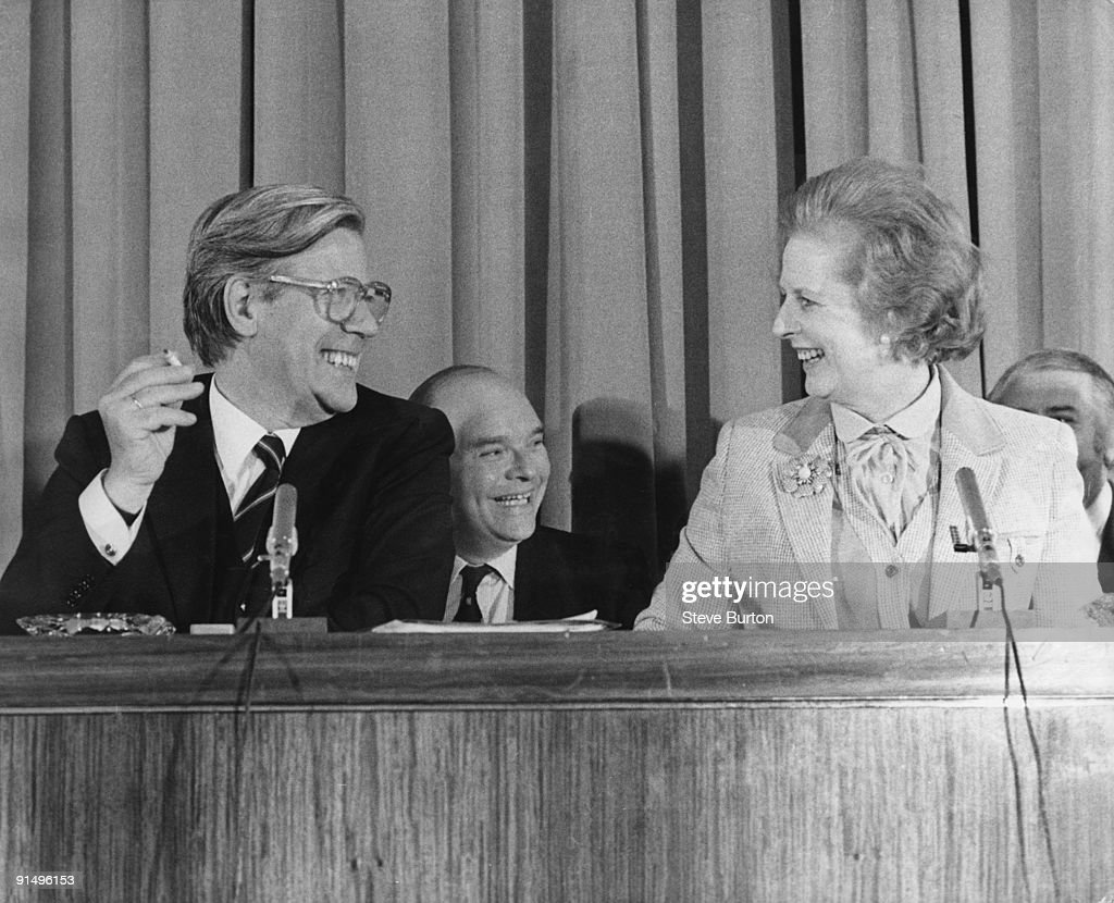 Helmut Schmidt, the West German Chancellor, with British Prime Minister Margaret Thatcher at a press conference held in the cinema at Millbank Tower, London, 11th May 1979.