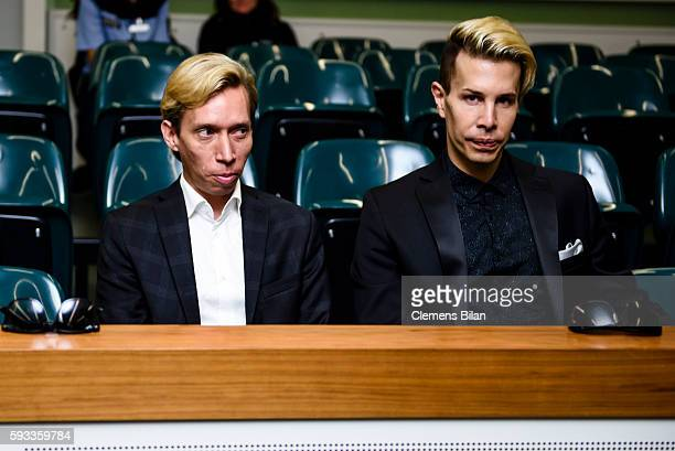 Helmut Werner and Florian Weiss attend a court trial on August 22 2016 in Berlin Germany The 29yearold model GinaLisa Lohfink was ordered to pay a...