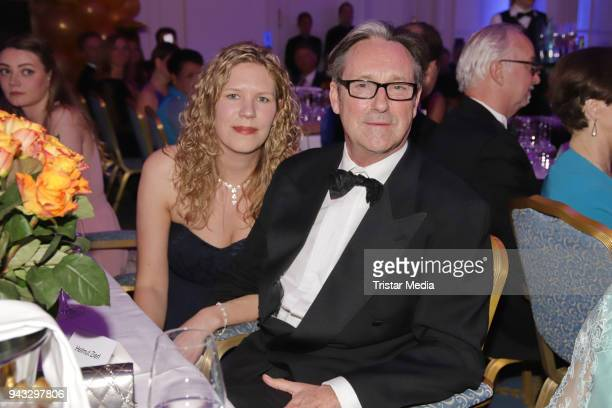 Helmut Zierl and her girlfriend Sabrina Boecker during the 21st Blauer Ball at Hotel Atlantic on April 7 2018 in Hamburg Germany