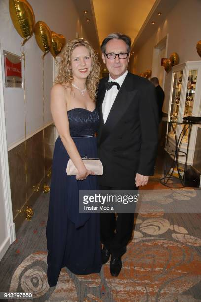 Helmut Zierl and his girlfriend Sabrina Boecker during the 21st Blauer Ball at Hotel Atlantic on April 7 2018 in Hamburg Germany