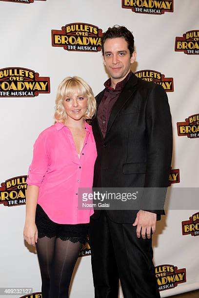Heléne Yorke and Nick Cordero attend the Bullets Over Broadway Rehearsal Press Preview at The New 42nd Street Studios on February 13 2014 in New York...