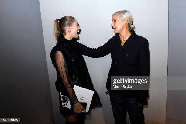 Heloise Agostinelli and Designer Maria Grazia Chiuri pose backstage after the Christian Dior show as part of the Paris Fashion Week Womenswear...