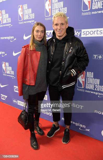 Heloise Agostinelli and Jamie Laing attend the NBA London Game 2019 between the Washington Wizards and New York Knicks at The O2 Arena on January 17...