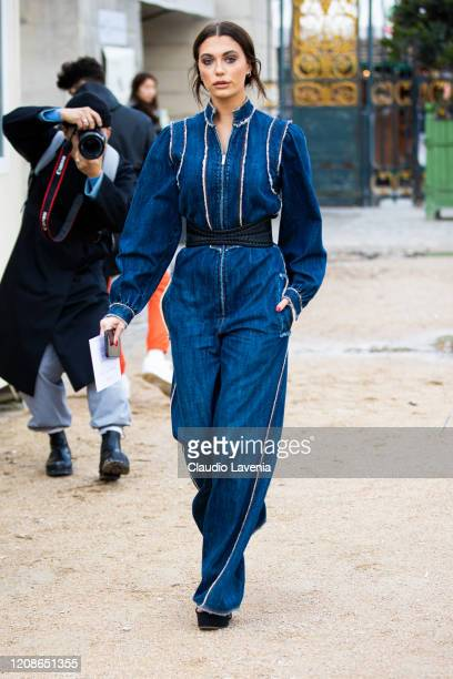 Heloise Agostinelli is seen outside Dior fashion show on February 25, 2020 in Paris, France.