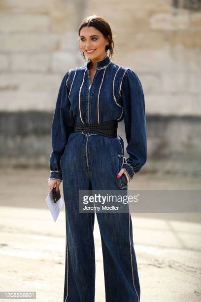 Heloise Agostinelli is seen wearing a complete Dior look outside Dior during Paris Fashion Week Womenswear Fall/Winter 2020/2021 Day Two on February...