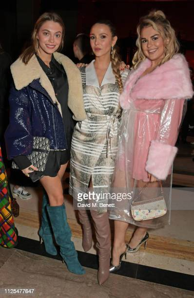 Heloise Agostinelli Sophie Hermann and Tallia Storm attend the Pam Hogg show during London Fashion Week February 2019 on at The Freemason's Hall in...