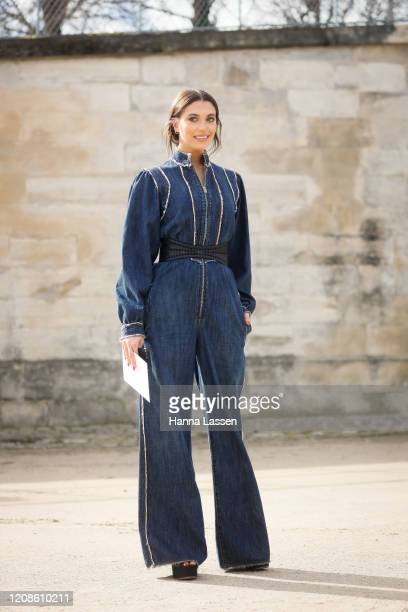 Heloise Agostinelli wearing Dior jumpsuit outside the Dior show as part of the Paris Fashion Week Womenswear Fall/Winter 2020/2021 on February 25...