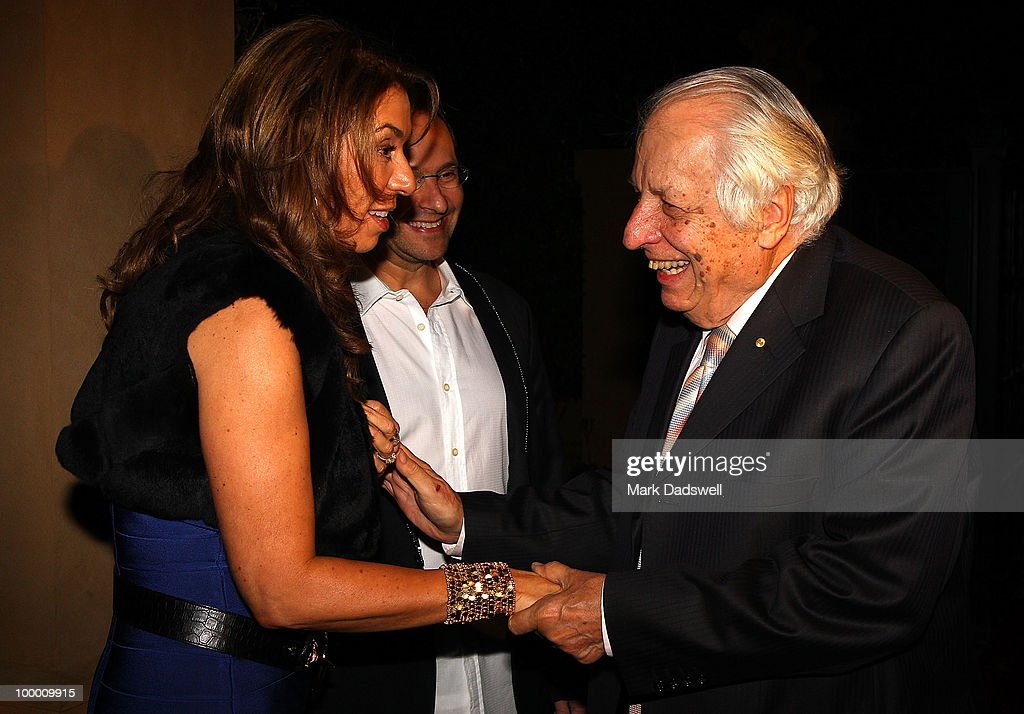 Heloise and Alex Waislitz greet Sir Gus Nossal AC at the Pratt Foundation's 'An Intimate Evening with Sir Bob Geldof' in support of St Vincent's Cancer Center on May 20, 2010 in Melbourne, Australia.