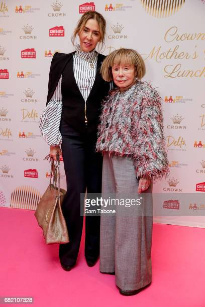 Heloise and Jeannie Pratt arrive ahead of the Crown Celebrity Mother's Day Luncheon on May 12 2017 in Melbourne Australia