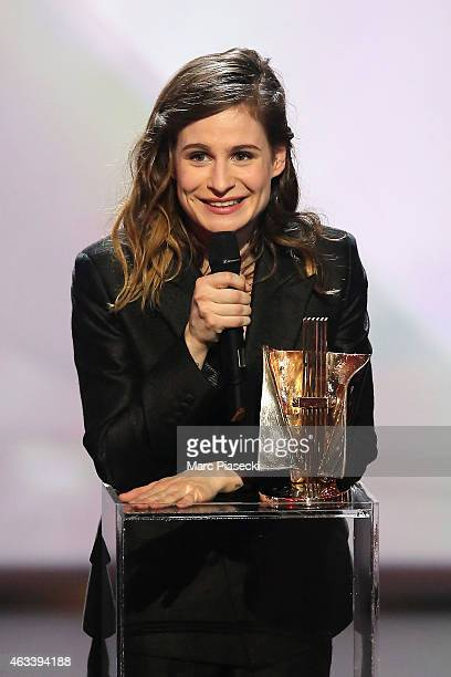 Heloise Letissier aka Christine and the Queens receives the award for the female artist of the year during the 30th 'Victoires de la Musique' French...