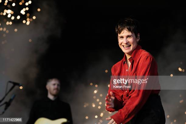 Heloise Letissier of Christine and the Queens performs on stage during Electric Picnic Music Festival 2019 at on August 31, 2019 in Stradbally,...