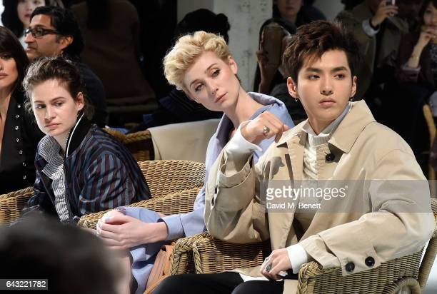 Helouise Letissier Elizabeth Debicki and Kris Wu wearing Burberry attend the Burberry February 2017 Show during London Fashion Week February 2017 at...