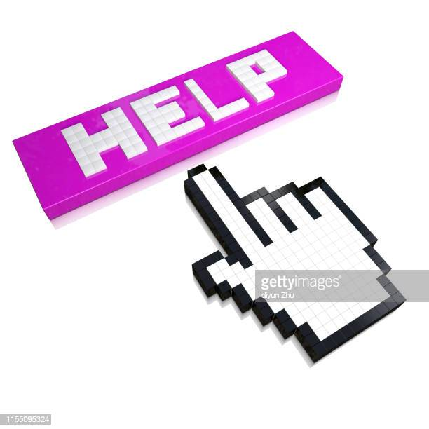 help and mouse sign,3d render - cursor stock pictures, royalty-free photos & images