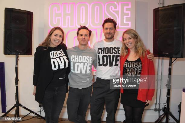 Help Refugees founder Josie Naughton Andrew Scott Ben Aldridge and Philli Boyle volunteer during Match Fund day at the 'Choose Love' shop for Help...