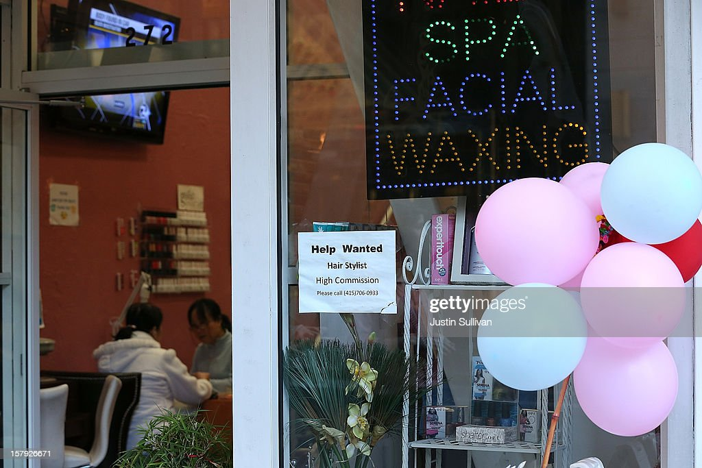 A help wanted sign hangs on the window of a nail salon on December 7, 2012 in San Francisco, United States. The U.S. Labor Department releases a study showing the economy added 146,000 jobs in November, and the unemployment rate fell to 7.7 percent from 7.9 percent the previous month.