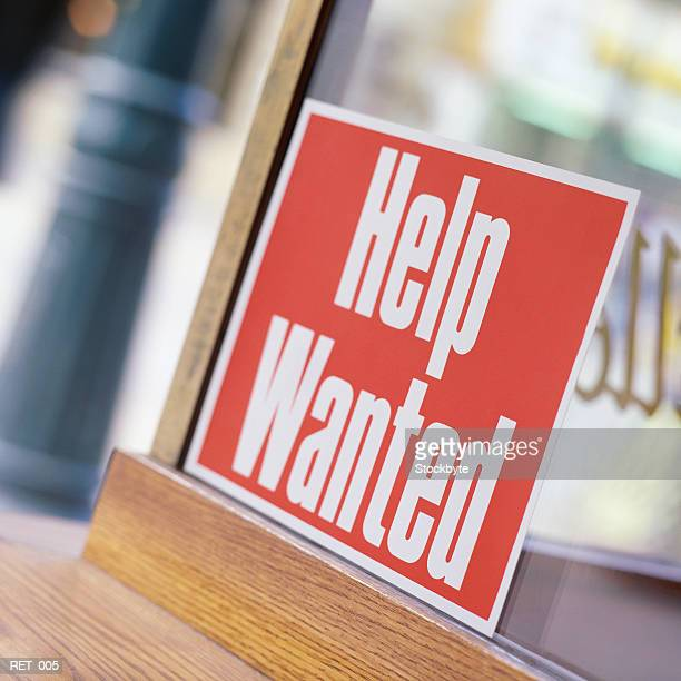 help wanted sign in window - help wanted sign stock photos and pictures