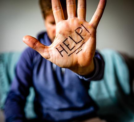 Help Written on Man's Palm 1196393870
