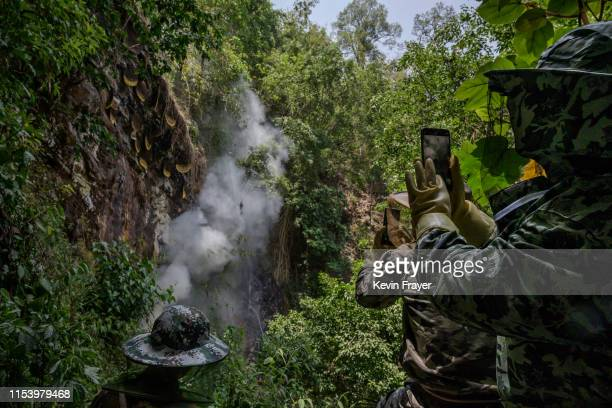 Helpers and a honey buyer take photos as Chinese ethnic Lisu honey hunters not seen gather wild cliff honey from hives in a gorge on May 11 2019 near...