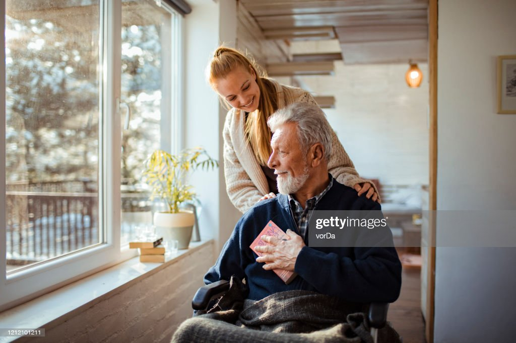 Helping her Old Man : Stock Photo