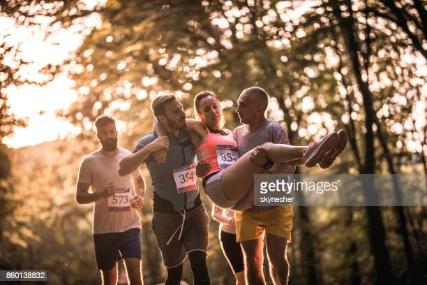 Helping injured marathon runner!