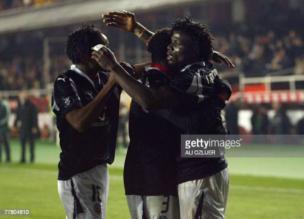 Helsingborg players celebrate their first goal against Galatasaray during their UEFA Cup football match at Ali Samiyen Stadium 08 November 2007 in...