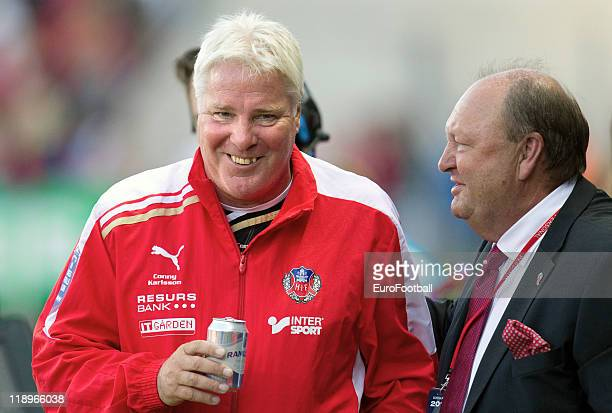 Helsingborgs IF coach Conny Karlsson looks on during the Swedish Allsvenskan League match between Helsingborgs IF and Djurgardens IF held at the...